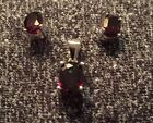 Sterling Silver And Garnet Earrings And Oendant Set