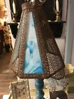 LARGE Antique Victorian Slag Glass Lampshade Rust Metal Scroll Patterns