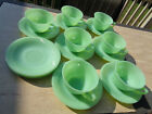 Vintage Fire King Jadeite - Jane Ray Pattern - 10 saucers and 7 cups Unmarked