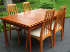 Vintage Mid Century Danish Modern Teak Expandable Dining Table with 2 Leafs MCM