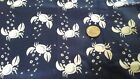 White Crabs on Navy Cotton Fabric Scrap Sew Quilt Craft New