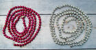 2 Vintage Christmas Strands of Mercury Glass GARLAND BEADS Beaded RED