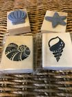 New Coastal Beach Seashell Wooden Rubber Stamps for crafting Lot of 4