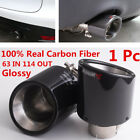 Car Round Carbon Fiber Glossy 63mm Inlet 114mm outlet Car Muffler Pipe New