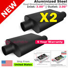 2 x Aluminized Steel Chamber Muffler 3 inch Offset In Center Out Black 211761