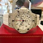 Mens HUBLOT Big Bang WHITE Chronograph DIAMOND Stainless Steel 44mm Watch
