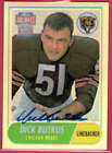 2001 Topps Archives Reserve Dick Butkus Bears On Card HOF Autograph