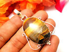 """60CTS NEW DESIGN PENDANT JEWELRY TIGER EYE GEMSTONE 925 ISLVER PLATED SIZE 2"""""""