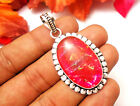 """58CTS LOVELY PENDANT JEWELRY DICHROIC GLASS GEMSTONE S925 ISLVER PLATED SIZE 2"""""""