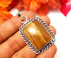 """56CTS PRETTY PENDANT JEWELRY TIGER EYE GEMSTONE S925 ISLVER PLATED SIZE 2"""""""