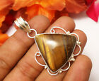 59CTS LOVELY PENDANT JEWELEY TIGER EYE GEMSTONE 925 SILVER PLATED SIZE 1.8""