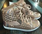 Sport Sneakers Iridescent Shiny Gold High Top Metallic Glam Quilted Shoes Girl 4