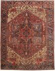 Very Firm Hand-Knotted Rug 8' x 11' Semi-Antique Persian Heriz Rug