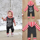Christnas Newborn Baby Girl Boy Striped Long Sleeve Romper Outfits Set Clothes