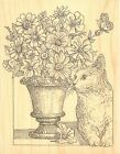 Flowers Cat Butterfly Wood Mounted Rubber Stamp IMPRESSION OBSESSION H2529 New