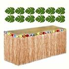 Hawaiian Luau Party SET 12 Green Tropical Leaves 1 Brown Grass Table Skirt