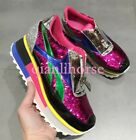 Women's Bling Bling Front zipper Slip On Creeper Soes Sequins Comfort Size