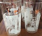 6 Vtg Mid-Century Anchor Hocking Glasses AMERICANA Pattern Amish Buggy Farmer