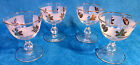4 Mid Century LIBBEY Frosted GOLD LEAF Water Wine GOBLET Sherbet GLASSES EUC