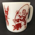 Vintage Hazel Atlas Circus Clown Mug Child's Red White Milk Glass Cup Pig Donkey