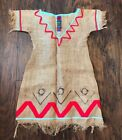 Vintage Indian Native American Girls Kids Dress Costume Handmade Burlap