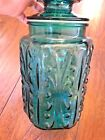 Vintage LE Smith Imperial Atterbury Scroll Teal Blue Glass Canister Jar - 9