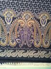 Double border Flower floral paisley satin blend fabric on denim blue 60w BTY