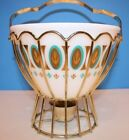 Vintage FIRE KING FRED PRESS Bowl with Basket Syle Warmer - Beautiful