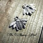 6 Bee Charms Pendants Bumblebee Charms Antiqued Silver Charms Set Insect Charms