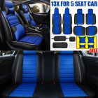 Deluxe Car Pu Leather Rear Cover Mat Protector Cushion Set For 5 Seat Pillows