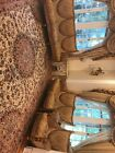 Antique? 3 Piece Sofa Couch ITALIAN wood Bow Accent Detail Set Living Room $13k