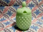 Jadeite Green Glass Hobnail Sugar Jar with Lid in Excellent Condition