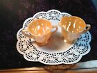 PEACH LUSTER LAURAL WREATH SUGAR AND CREAMER FIRE KING OVEN WARE