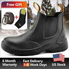 Safetoe Safety Work Boots Mens Shoes Steel Toe Black Anti static Slip On M 8025