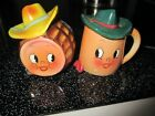 Vintage Anthropomorphic Cowboy Coffee Pot and Barrel Salt and Pepper Shakers