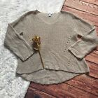 Bar III Silver Metallic Cable Knit Swater Size XL