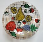 Vintage HIGGINS Fused Painted Fruit Bowl Mid Century Modern Art Glass