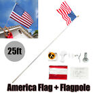 25ft Flagpole Aluminum Kit Sectional Halyard Pole Outdoor with American Flag USA