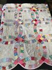 Vintage Wedding Ring Handmade Stitched Quilt (Multi-Color/Pink) Great Condition!