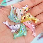 10x Multicolor 3D Glitter Dolphin Fish Resin Charm Pendant For DIY Jewelry Craft