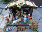 Vtg Italy Comppaper Christmas Nativity Figures  Animals In Wood Creche Manger