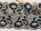 Floral Embroidered Border Lace Trim Black Tulle Sewing Crafts Bridal 8 Wide