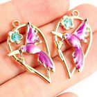 10pc Gold Plated Enamel Hummingbird Birdflower Charm Pendant Diy Jewelry Craft