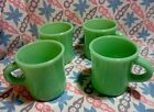 Jadeite Green Glass Restaurant Style Coffee Mugs in Excellent Condition x4