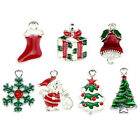 10PCS Set Enamel Christmas Beads Charms Pendant Carfts DIY Jewelry FindingDF