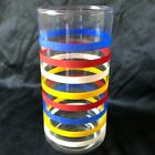 Vintage Striped Glass Footed Tumbler Mid-Century Primary Colors 6
