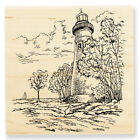 Marblehead LIGHTHOUSE Ocean Scene Wood Mounted Rubber Stamp Stampendous W004 NEW