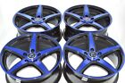 4 New DDR ST1 17x75 5x1143 38mm Black Polished Blue 17 Wheels Rims