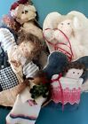 Primitive Dolls 5 Handmade Cloth Patchwork Muslin Vintage