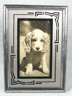 Vintage Art Deco Silver and Black Stand Up Picture Frame with Puppy